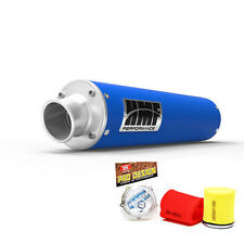 HMF Performance Slip On Exhaust Muffler Blue Pro Design Foam Filter LTR 450