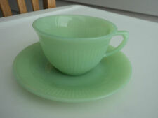 FIRE KING JADE-ITE JADITE GREEN JANE RAY CUP & SAUCER SETS