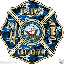 US Navy Firefighter Bumper sticker Toolbox sticker Laptop Sticker Die cut