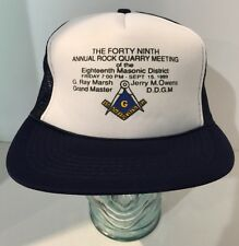 1989 Free Mason Trucker Hat Cap - 18th Masonic District - Rock Quarry Meeting