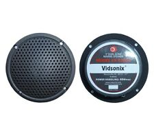 "3"" Boat, Spa, or Shower Marine Audio Speaker Pair Charcoal Vidsonix NEW ATV Moto"