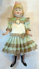 Heubach-molded  mignonette bisque doll -time consuming dress- Germany