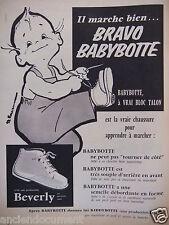 PUBLICITÉ 1958 CHAUSSURES BABYBOTTE BEVERLY AVEC BLOC TALON - ADVERTISING
