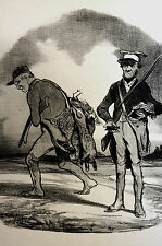 Honore Daumier c1950 - HUNTERS w RABBITS and PHEASANT Vintage Art Print Matted