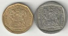 2 DIFFERENT COINS from SOUTH AFRICA - 20 CENTS & 1 RAND (BOTH DATING 1994)