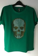 E.VIL QUEEN of EVIL Rhinestone Skull Sweatshirt   Sz: M=UK 10.US 6.EU 38  New!!