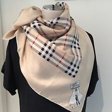BURBERRY OF LONDON Athentic Check Silk Twill Scarf 76cm x 76cm Hand-roll Edges