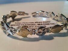 GOLD FISH and SHELL & SILVER STARFISH MAGNETIC THERAPY BRACELET PRO HEALTH