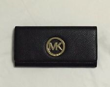 Authentic Michael Kors Fulton Long Flap Continental Leather Wallet In Black