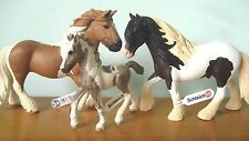 3 x NEW Schleich Pony Horse Club Tinker Stallion 13831 + Mare + Foal Stable Farm