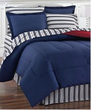Red & Blue Nautical Stripe Reversible Queen Comforter Set (8 Piece Bed In Bag)