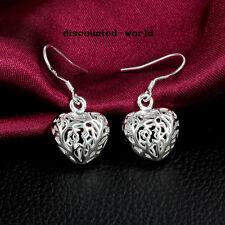Femmes Mode appealing forme creuse coeur en argent boucle d'oreille Petit