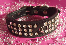 XS BLACK BLING GEM RHINESTONE GEM DOG COLLAR YORKIE CHIHUAHUA MALTESE 21cm-27cm