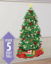 CHRISTMAS TREE Scene Setter holiday party wall decor kit 5' presents lights star