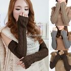 1 Pair Women Unisex Men's Gloves Arm Warmer Long Fingerless Knit Mitten Winter