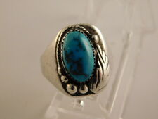 TURQUOISE STERLING RING NAVAJO FEATHER SZ 9 3/4 SILVER 925