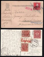 AUSTRIA 1916 FELDPOST WWII MILITARY POSTAL CARD TO ZURICH AND EXPRESS MAIL POST