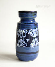 Vintage Retro Blue Scheurich WEST GERMAN Ceramic 242-22 Lava Vase - FREE UK P&P