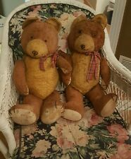 "Antique TWIN Teddy Bears 24"" Gold & Brown Straw stuffed jointed with hump backs"