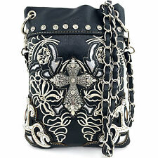 Western Cowgirl Black Metal Cross Body Hipster Small Messenger Bag Purse