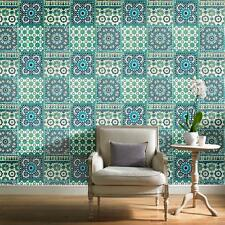 Grandeco Wallpaper - Luxury Botanical Moroccan Tile Pattern - In Teal - BA2503