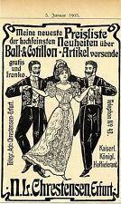 N.L. Chrestensen Erfurt Ball - & cotillon-Articolo storico la pubblicità di 1903