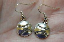 BASEBALL Earrings Soft Ball Volley Ball Soccer Sports Charms Silver EarWires NEW