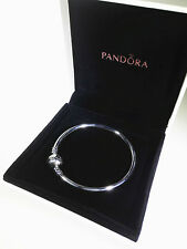 New Authentic Pandora Silver Bangle Bracelet with CASE 19cm 7.5'' #590713