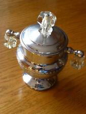 Vintage Chrome Keystoneware Art Deco Style Lidded Sugar Bowl~Crystal~Glass Knobs