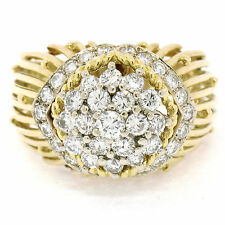 Hammerman Brothers French 18K Yellow Gold Platinum 1.6ctw Diamond Cluster Ring