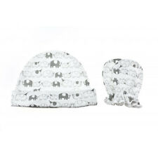 Playette by Goldbug Jersey Cap & Mittens - 100% Cotton - Elephant Party!
