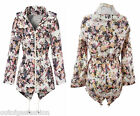 NEW WOMENS OVER SIZE LIGHTWEIGHT ALL OVER FLORAL MAC FISHTAIL JACKET COAT 8-24