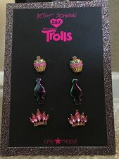 Betsey Johnson For DreamWorks TROLLS 3-piece Earring Set NOC