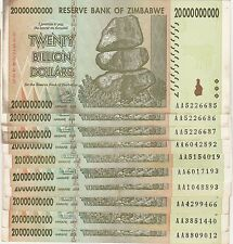 Zimbabwe 20 Billion Dollar Note CIRCULATED 10 Notes AA/AB 2008