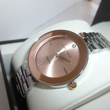 New Anne Klein AK/2077RGRT Pink Dial Silver Tone Diamond Women's Watch