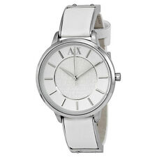 Armani Exchange White Dial White Leather Ladies Watch AX5300