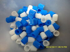 100 Mixed Light Blue and White Dust Caps for Cars, Bikes, ATV, Tractors etc
