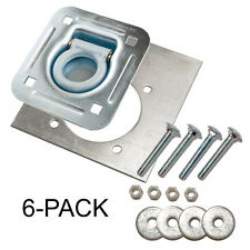"""D-Ring Recessed 6,000 lb. Tie Down and Backing Plate  w/ 2-1/2"""" Hardware 6-pack"""