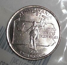 1999-P US Quarter, 25 cents; Pennsylvania, Commonwealth Statue, coin. UNC-60
