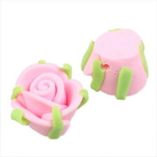 30x Wholesale Pink Charms FIMO Polymer Clay Rose Flower Beads 15mm 111590