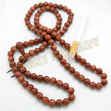 6mm Tibet Buddhism 108 Gold sandstone Prayer Bead Mala
