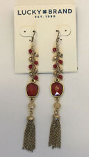Lucky Brand Gold-Tone Red Stone Linear Drop Chain Fringe Earrings $35