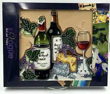 2 Bottles of Wine and Cheese Hand Painted Art Tile - Red Grapes Cabernet - C-186