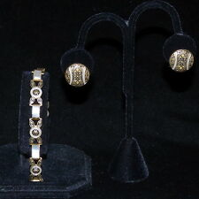 VINTAGE DAMASCENE GOLD TONE BLACK & WHITE LINK BRACELET & CLIP-ON EARRINGS SET
