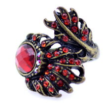 Vintage retro style antique bronze and red curved peacock feather ring, UK N