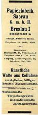 Papierfabrik Sacrau Breslau KÜNSTLICHE WATTE Historische Reklame 1908