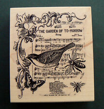 """P6  Collage rubber stamp """"The garden of to-morrow"""" 3.2x3.75"""