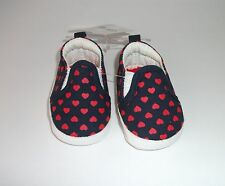 Carters Slip-On Canvas Shoes Newborn Girls NB Navy Red Hearts New