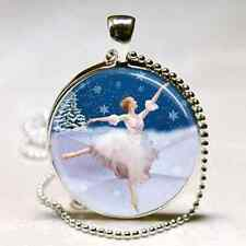 BALLET NECKLACE Ballerina Charm Nutcracker Snow Fairy PENDANT Christmas Gift