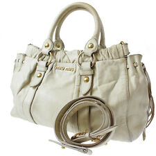 MIU MIU Logos 2Way Shoulder Hand Bag White Calfskin Leather Authentic #5968 M